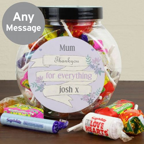Retro Sweet Jar Gift Personalised With Any Message Gift Idea For Mothers Day & Birthdays